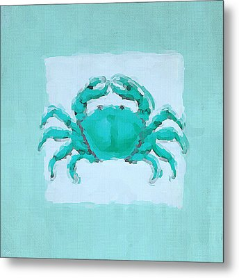 Turquoise Seashells I Metal Print by Lourry Legarde