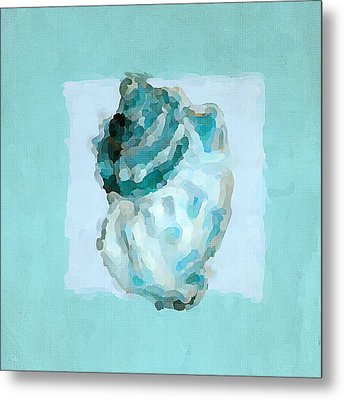 Turquoise Seashells Vi Metal Print by Lourry Legarde
