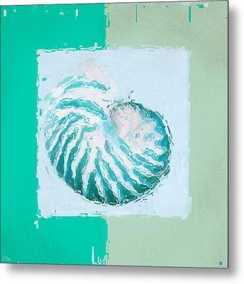 Turquoise Seashells Xii Metal Print