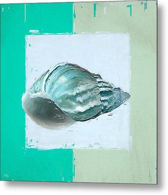 Turquoise Seashells Xiv Metal Print
