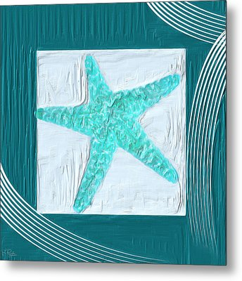 Turquoise Seashells Xvi Metal Print by Lourry Legarde
