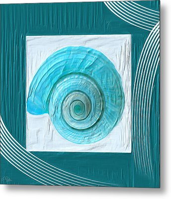 Turquoise Seashells Xvii Metal Print by Lourry Legarde