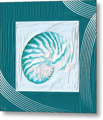 Turquoise Seashells Xxi Metal Print by Lourry Legarde