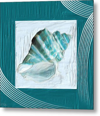 Turquoise Seashells Xxii Metal Print by Lourry Legarde