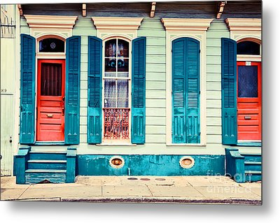 Turquoise Shutters Metal Print by Sylvia Cook