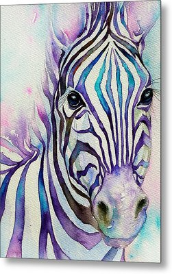 Turquoise Stripes Zebra Metal Print