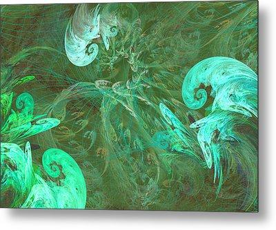 Turquoise Turbulance Metal Print by Minnie W Shuler