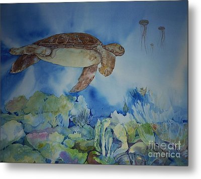 Turtle And Jelly Fish Metal Print by Donna Acheson-Juillet
