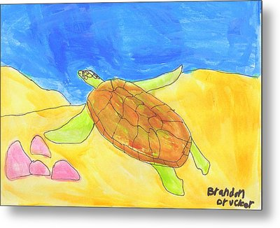 Metal Print featuring the painting Turtle by Artists With Autism Inc