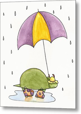 Turtle In The Rain Metal Print by Christy Beckwith