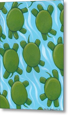 Turtle Nursery Art Metal Print by Christy Beckwith