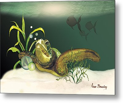 Turtle Swimming Over Reef Metal Print by Anne Beverley-Stamps