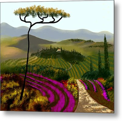 Tuscan Countryside Metal Print by Larry Cirigliano
