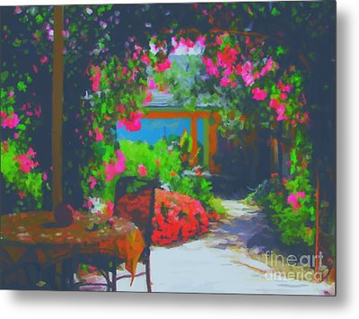 Metal Print featuring the painting Tuscan Courtyard by Tim Gilliland