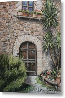 Tuscan Doorway La Parrina Metal Print by Melinda Saminski