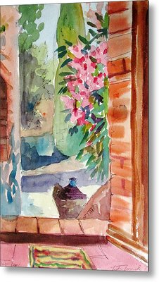 Tuscan Doorway Metal Print by Linda Novick