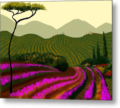 Tuscan Fields Of Color Metal Print by Larry Cirigliano