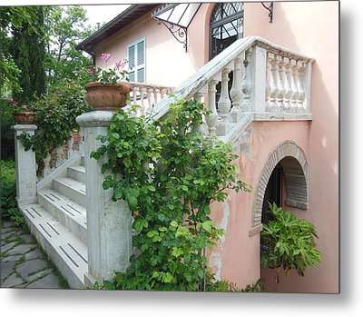 Tuscan Staircase With Flowers Metal Print by Marilyn Dunlap