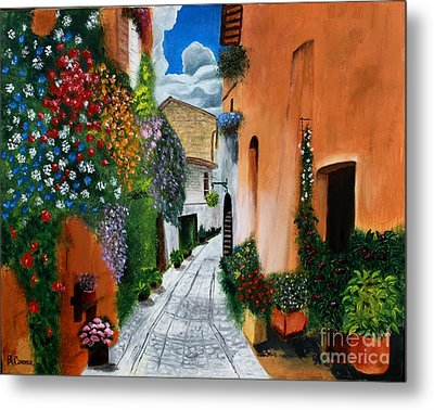 Metal Print featuring the painting Tuscan Street Scene by Bev Conover