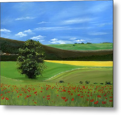 Tuscan Tree With Poppy Field Metal Print