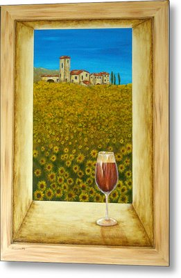 Tuscan View Metal Print by Pamela Allegretto