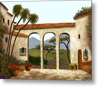 Tuscan Villa Of Beauty  Metal Print by Larry Cirigliano