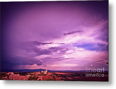 Tuscania Village With Approaching Storm  Italy Metal Print by Silvia Ganora
