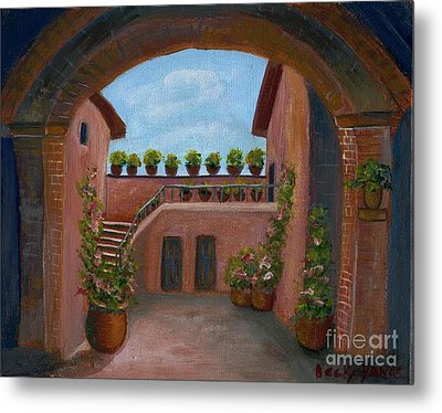 Tuscany Arch Metal Print by Becky Lupe