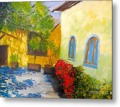 Metal Print featuring the painting Tuscany Courtyard 2 by Pamela  Meredith