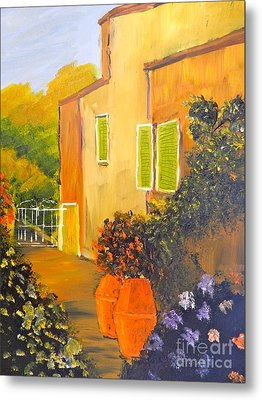 Metal Print featuring the painting Tuscany Courtyard by Pamela  Meredith