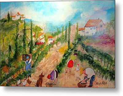 Tuscany Harvest  Metal Print by Elaine Elliott