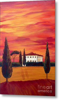 Tuscany In Red Metal Print by Christine Huwer