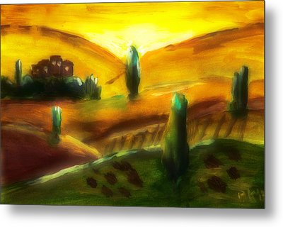 Tuscany Sunrise Metal Print by Peg Holmes