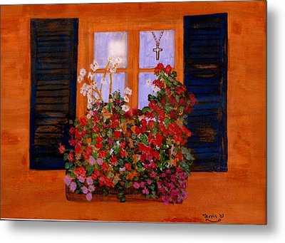 Tuscany Window Box Metal Print by Larry Farris