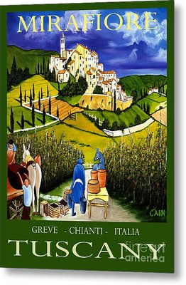 Tuscany Wine Poster Art Print Metal Print by William Cain