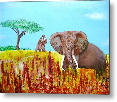 Metal Print featuring the painting Tusks2 by Donna Dixon