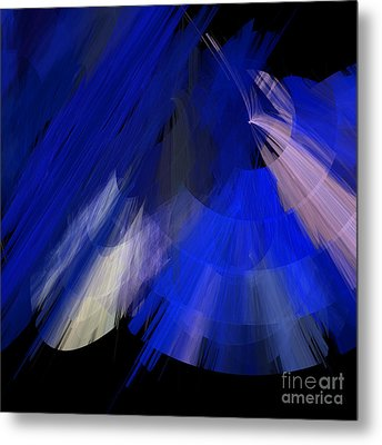Tutu Stage Left Blue Abstract Metal Print by Andee Design