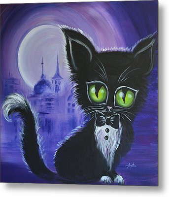 Metal Print featuring the painting Tuxedo Cat by Agata Lindquist