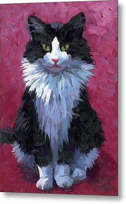 Tuxedo Cat Metal Print by Alice Leggett