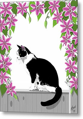 Tuxedo Cat And Clematis Metal Print by Artellus Artworks