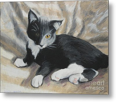 Metal Print featuring the painting Tuxedo Kitten by Jeanne Fischer