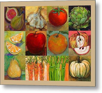Twelve Colorful Foods Collage Metal Print by Jen Norton