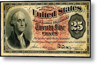 Twenty Five Cent 4th Issue U.s. Fractional Currency Fr 1302 Metal Print by Lanjee Chee