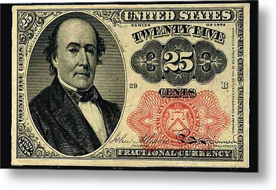Twenty Five Cents 5th Issue U.s. Fractional Currency Metal Print by Lanjee Chee