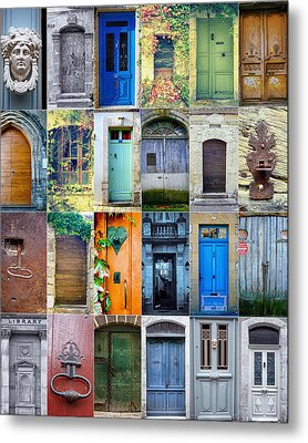 Twenty Four French Doors Collage Metal Print