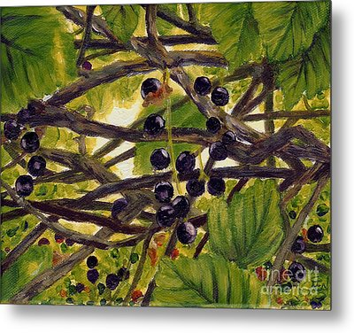 Twigs Leaves And Wild Berries Metal Print