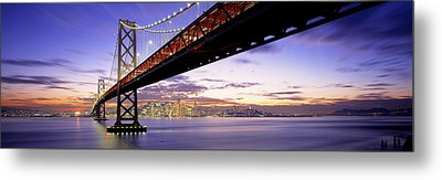 Twilight, Bay Bridge, San Francisco Metal Print
