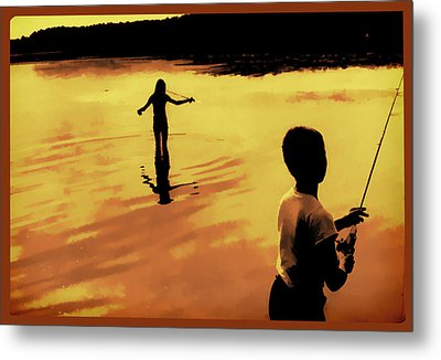 Twilight Fishing Metal Print by John Hansen