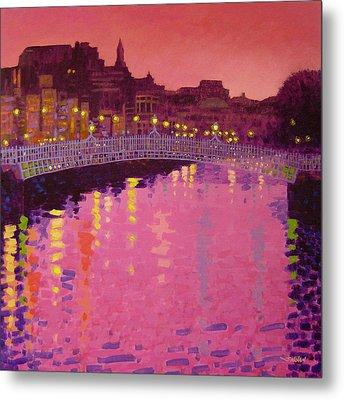 Twilight - Ha' Penny Bridge Dublin Metal Print by John  Nolan