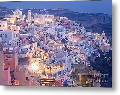 Twilight In Santorini Metal Print by Aiolos Greek Collections